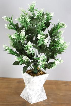 Yapay Çiçek Deposu - Beton Vazoda İri Kafa Plastik Bitki Beyaz