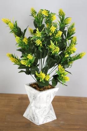 Yapay Çiçek Deposu - Beton Vazoda İri Kafa Plastik Bitki Sarı