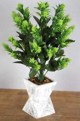Yapay Çiçek Deposu - Beton Vazoda İri Kafa Plastik Bitki Yeşil