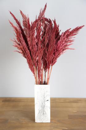 Yapay Çiçek Deposu - İnce Vazoda Kuru Pampas Demeti 50 cm Pastel Kırmızı
