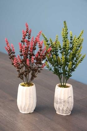 Yapay Çiçek Deposu - Beton Vazoda Yapay Başak 2li Set