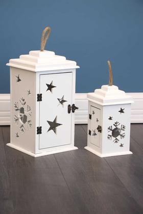 Yapay Çiçek Deposu - 2li Lüx Ahşap Fener Mumluk Kar-Yıldız Model Beyaz