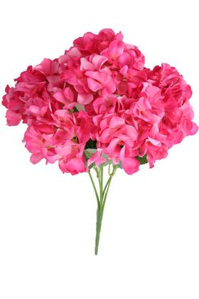 Yapay Çiçek Deposu - Yapay Çiçek 5 Dal Ortanca Demeti Fuşya