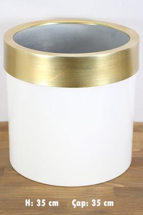 Yapay Çiçek Deposu - Dekoratif Metal Saksı Beyaz Altın 35 cm