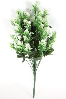 Yapay Çiçek Deposu - İri Kafa Plastik Tırtıl Bitki Demeti Beyaz
