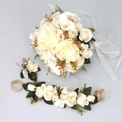 Yapay Çiçek Deposu - Gelin Buketi Havelka Beyaz-Krem Esintisi 3lü Set