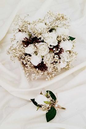 Yapay Çiçek Deposu - Beyaz Güller Cipso Kuru Çiçek Şöleni Gelin Çiçeği 2li Set