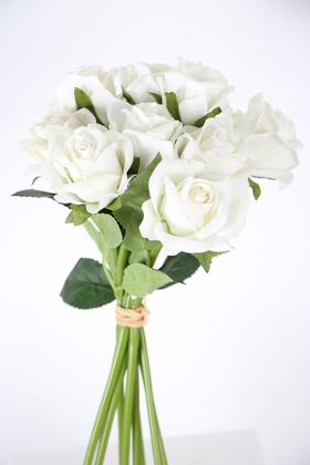 Yapay Çiçek Deposu - Yapay 9lu Gonca Kadife Ekvator Gül Demeti Beyaz