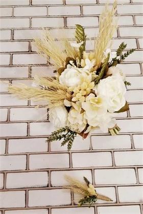 Yapay Çiçek Deposu - Fisun Şakayık Kuru Çiçek Şöleni Krem Beyaz Esintisi Gelin Buketi 2li Set