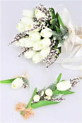 Yapay Çiçek Deposu - Islak Lale Gelin Çiçeği 3lü Set Beyaz