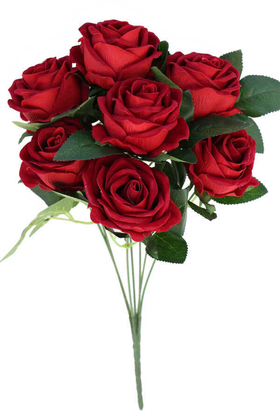Yapay Çiçek Deposu - Yapay Çiçek 7li Lüx Kadife Gül Demeti 40 cm Kırmızı