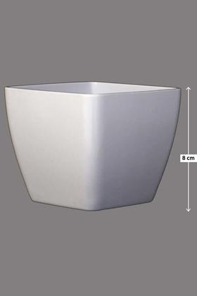 Yapay Çiçek Deposu - Melamin Saksı Model 9 Beyaz 8cm