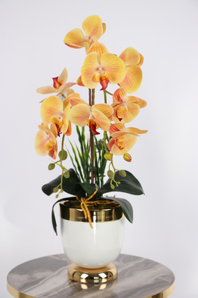 Yapay Çiçek Deposu - Metal Beyaz-Gold Saksıda Lüx 2li Orkide Turuncu