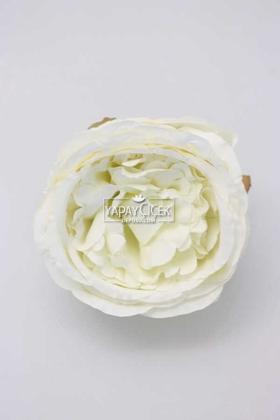 Yapay Çiçek Deposu - Yapay Tek Kafa Şakayık Gül 10 cm Beyaz
