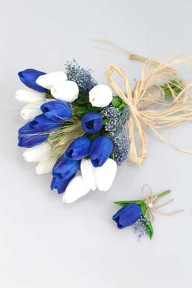 Yapay Çiçek Deposu - Gonca Islak Lale Gelin Çiçeği 2li Set Beyaz-Saks Mavi