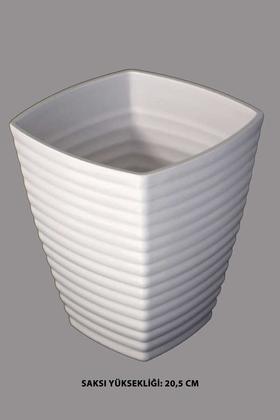 Yapay Çiçek Deposu - Melamin Saksı Model 3 Beyaz