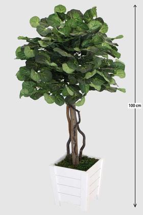 Yapay Çiçek Deposu - Beyaz Saksıda Yapay Begonya Ağacı 100 cm Yeşil