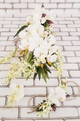 Yapay Çiçek Deposu - Sarkan Sümbül Orkide Lilyum Kokteyli Gelin Çiçeği Beyaz 3lü set