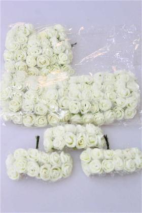 Yapay Çiçek Deposu - 144lü Mini Tüllü Lateks Gül Krem