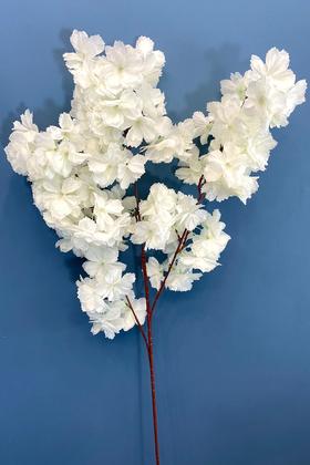 Yapay Çiçek Deposu - Yapay Kaliteli Kabarık Bahar Dalı 95 cm Beyaz