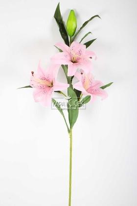 Yapay Çiçek Deposu - Yapay Çiçek Islak Lilyum Zambak Dal 95 cm Açık Pembe