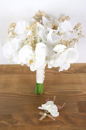 Yapay Çiçek Deposu - Phalaina Yapay Gelin Çiçeği 2li Set