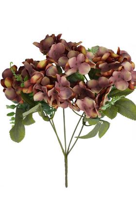 Yapay Çiçek Deposu - Yapay Yeşil Ara Dallı Pastel Ortanca Demeti 33 cm Kahverengi