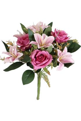 Yapay Çiçek Deposu - Bodur Exclusive Cipsolu Lilyum Gül Buketi Pembe