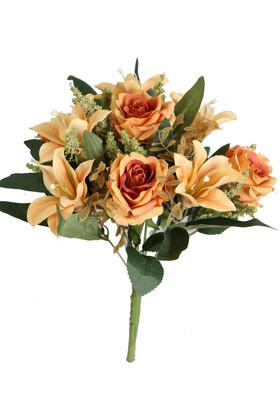 Yapay Çiçek Deposu - Bodur Exclusive Cipsolu Lilyum Gül Buketi Hardal