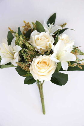 Yapay Çiçek Deposu - Bodur Exclusive Cipsolu Lilyum Gül Buketi Krem