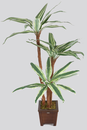 Yapay Çiçek Deposu - Ucuz Kumaş Yapraklı Yapay Ağaç 120 cm Yeşil-Krem