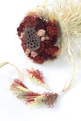 Yapay Çiçek Deposu - Kuru Çiçek Gelin Çiçeği Bordo Şöleni 3lü Set