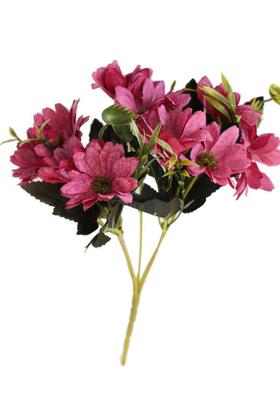 Yapay Çiçek Deposu - Yapay Çiçek 10lu Büyük Kafa Papatya Demeti Bordo