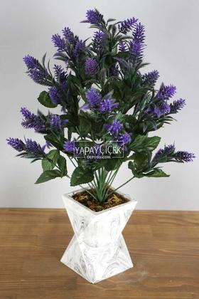 Yapay Çiçek Deposu - Beton Vazoda İri Kafa Plastik Bitki Mor
