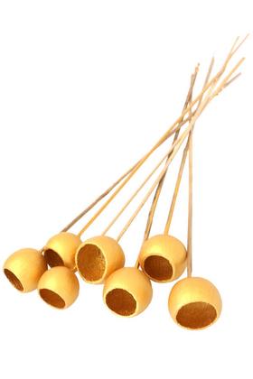 Yapay Çiçek Deposu - Dekoratif Bell Cup Orta Boy 7li Doğal Kabak Gold Altın Renk