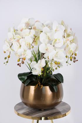 Yapay Çiçek Deposu - Metal Bronz Saksıda Lüx 10lu Orkide Beyaz