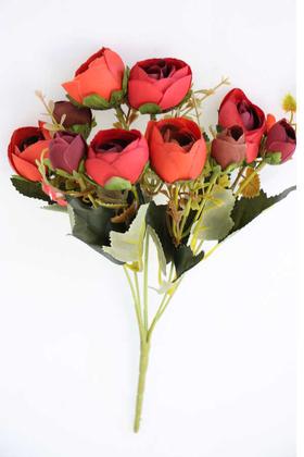 Yapay Çiçek Deposu - Brüksel Şakayık Gül Demeti (Bordo-Kırmızı)