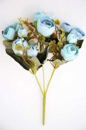 Yapay Çiçek Deposu - Brüksel Şakayık Gül Demeti (Mavi-Turkuaz)