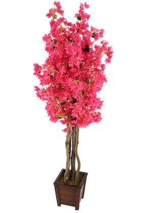 Yapay Çiçek Deposu - Ahşap Saksıda Yapay Begonvil Ağacı 185 cm Fuşya