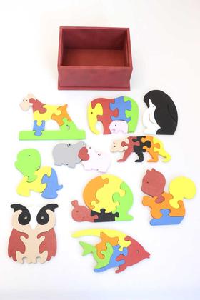 Yapay Çiçek Deposu - 10lu Hayvanlar Alemi Ahsap Puzzle Seti(Kutulu)