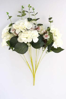 Yapay Çiçek Deposu - Yapay Çiçek 15 Dal Ortanca Gerbera Okaliptus Çiçekli Nirvana Demet Beyaz