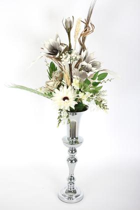 Yapay Çiçek Deposu - Büyük Metal Vazoda Dekor Kız İsteme Hediyelik Yapay Aranjman Gümüş Gri Tonlar