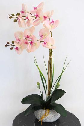 Yapay Çiçek Deposu - Küçük Kabak Saksıda 2li Exclusive Islak Orkide Pembe