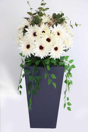 Yapay Çiçek Deposu - Yapay Ahşap Saksıda Lüx Gerbera Tanzimi 100 cm Krem