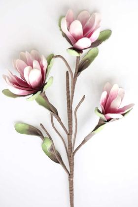 Yapay Çiçek Deposu - Exclusive Yapay İri Yapraklı Lateks Manolya Çiçeği 100 cm Pembe