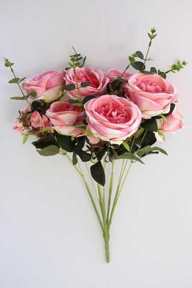 Yapay Çiçek Deposu - Yapay Çiçek 15 Dal Gül Ortanca Okaliptus Çiçekli Nirvana Demet Pembe