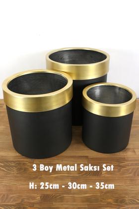 Yapay Çiçek Deposu - Dekoratif Metal Saksı 3lü Set Siyah Altın