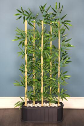 Yapay Çiçek Deposu - Dekoratif Saksıda Islak Yapraklı 5 Çubuklu Bambu Seperatör (20x50x135cm)