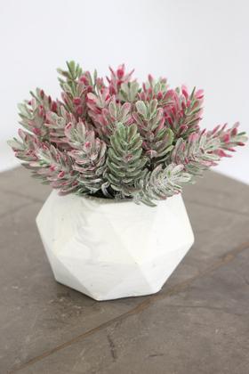 Yapay Çiçek Deposu - Beton Saksıda Yapay Masa Çiçeği Model 12