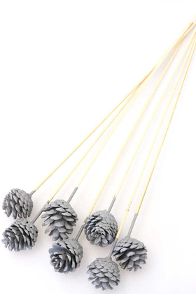 Yapay Çiçek Deposu - 7li Çam Kozalak Bambu Saplı Duman Grisi